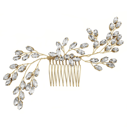 Classic and elegant, the gold Zara hair comb is lightweight and provides a flexible fit. The comb can be worn at both the back or side of the head.