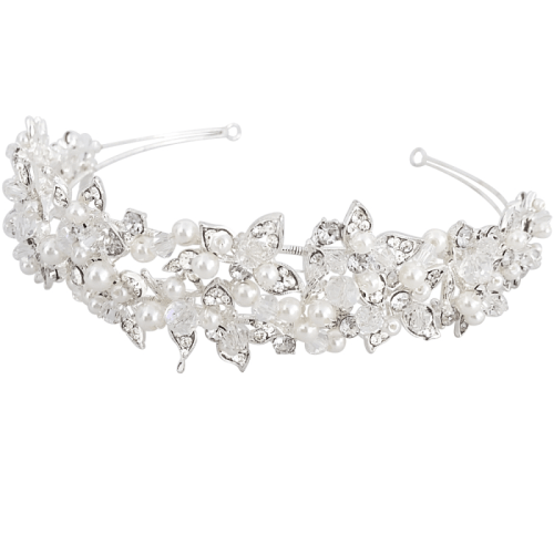 Exquisitely designed, the stunning Elle Silver headband provides the perfect finishing touch. Embellished with an array of high-quality clear crystals and simulated ivory pearls on a silver finish.