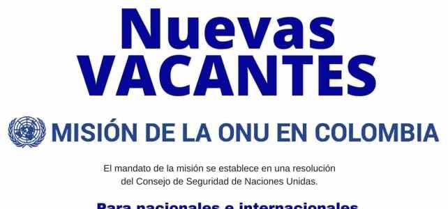 Convocatorias de la Misión de la ONU en Colombia para diciembre
