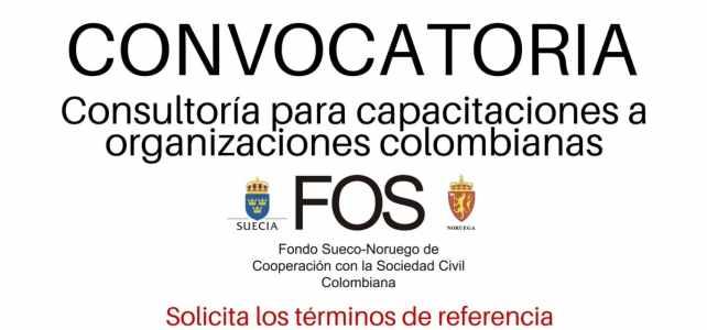 Convocatoria de consultoría con el Fondo Sueco Noruego para capacitaciones a organizaciones colombianas