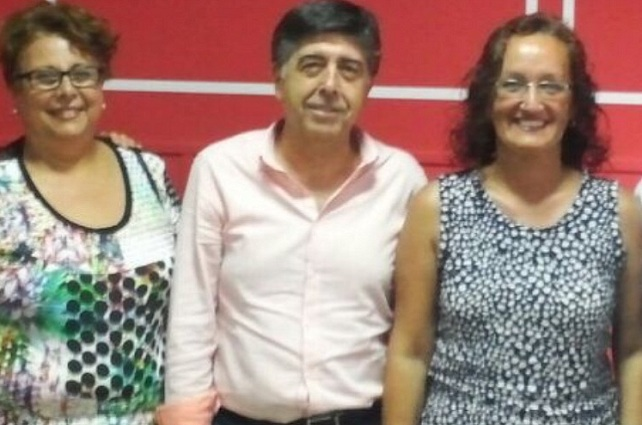Pino González (derecha), Gilberto Díaz y Olga Cáceres