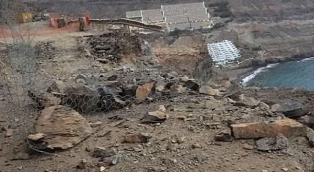 Un nuevo desprendimiento afecta la obra reparación de la carretera de Taurito a Mogán