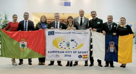 Una delegación santaluceña recoge en Bruselas el título de Ciudad Europea del Deporte 2018