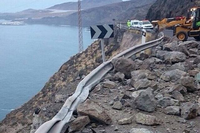 Carretera de La Aldea, desprendimiento