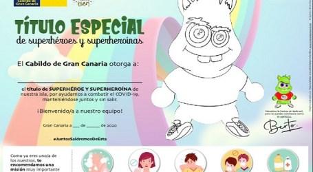 Diploma de superheroína y superhéroe para la población infantil por quedarse en casa y ayudar a combatir el coronavirus