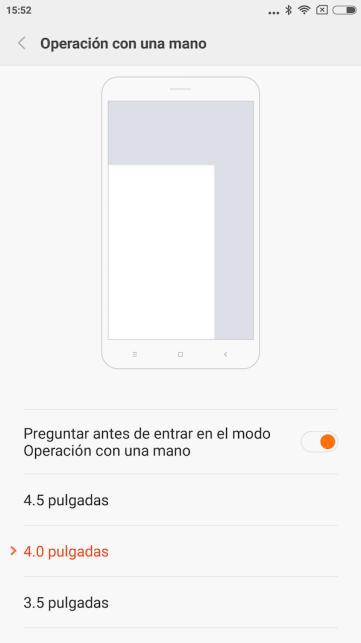 Modo una mano - Xiaomi Redmi Note 2 - Android