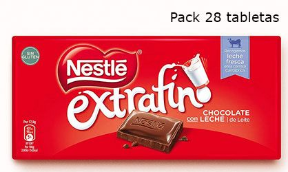 Oferta 28 tabletas chocolate Nestlé Extrafino con leche barato