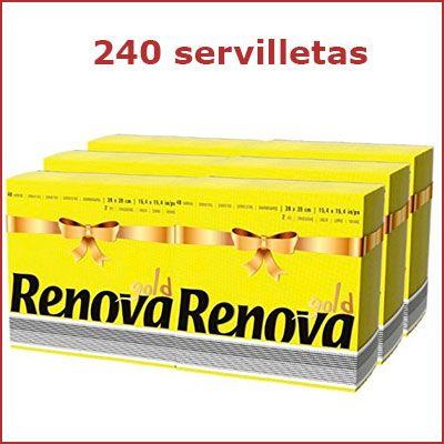 Oferta pack de 240 servilletas Renova Gold amarillas baratas