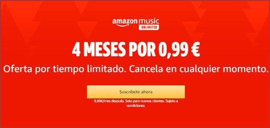 Promoción 4 meses de Amazon Music Unlimited