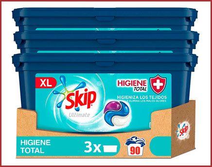 Oferta 90 cápsulas detergente Skip Ultimate higiene total barato amazon