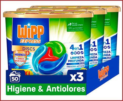 Oferta 150 dosis detergente Wipp Express DISCS Higiene & Antiolores