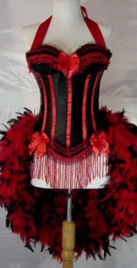 Red & Black Victorian Moulin Burlesque Showgirl Costume