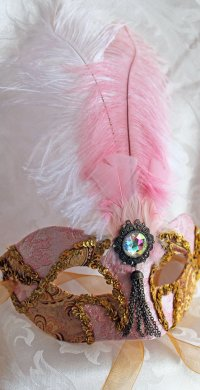 Pink and Gold Brocade Mask