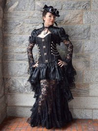 "alt=""steampunk black luxury gown"""