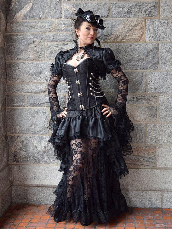 """alt=""""steampunk black luxury gown"""""""