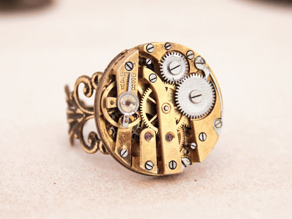 "alt=""steampunk watchwork ring"""