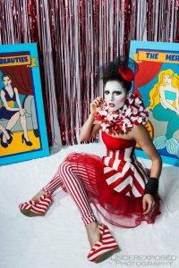 "alt=""red stripe clown womens costume"""