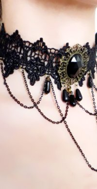 "alt=""victorian-steampunk lace necklace"