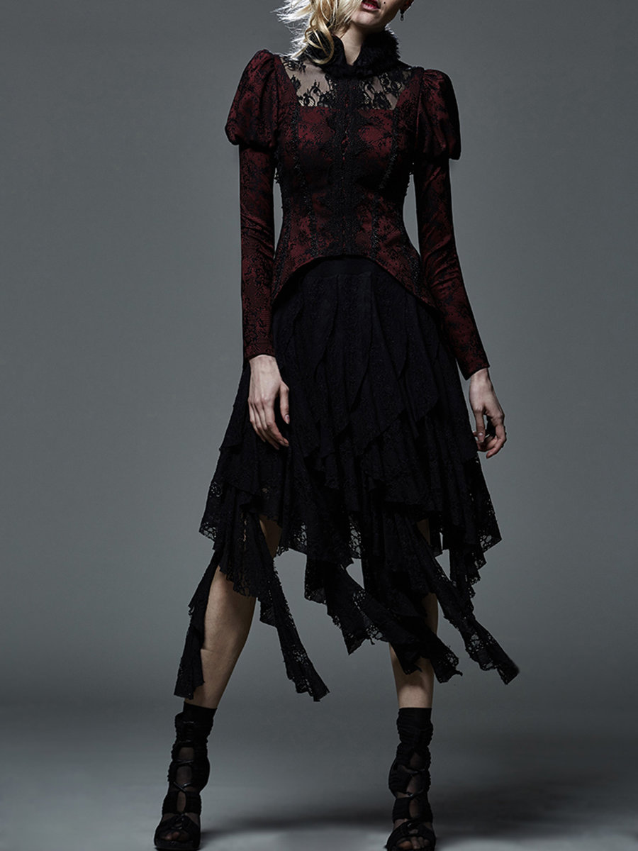 "alt=""red vintage punk rave gothic dress coat"""