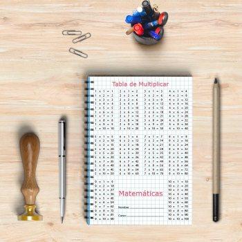 Libreta con el diseño de la tabla de multiplicar