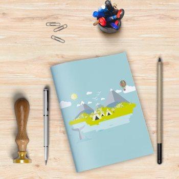 Libreta con el dibujo de una isla flotante con pequeñas tiendas indias