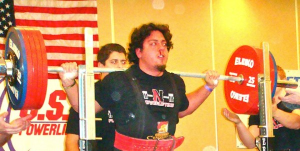 Drew pushing hard enough in the squat in the 2012 Massachusetts State Championships to pop a blood vessel in the nose.