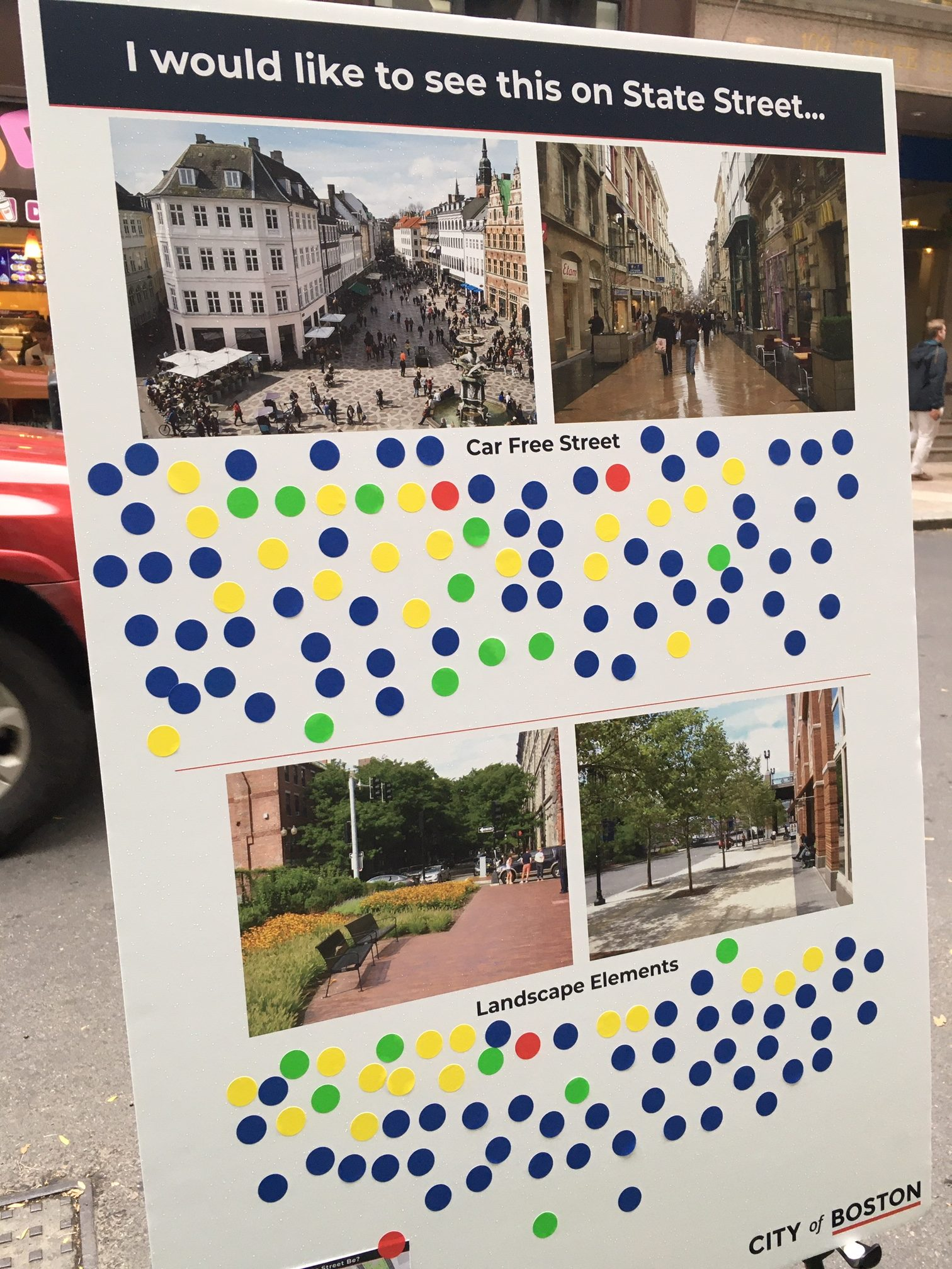 On Wednesday, Oct. 30, 2019, planners from the City of Boston asked passerby to vote for a range of potential street design elements as they plan for a reconstruction project on State Street in downtown Boston.
