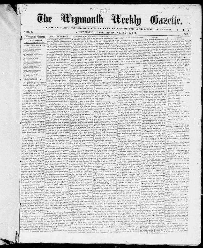 The Weymouth Weekly Gazette 2 May 1867 - FM
