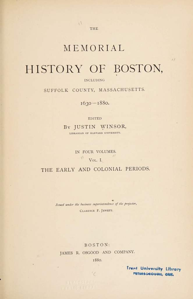 Memorial History of Boston title page