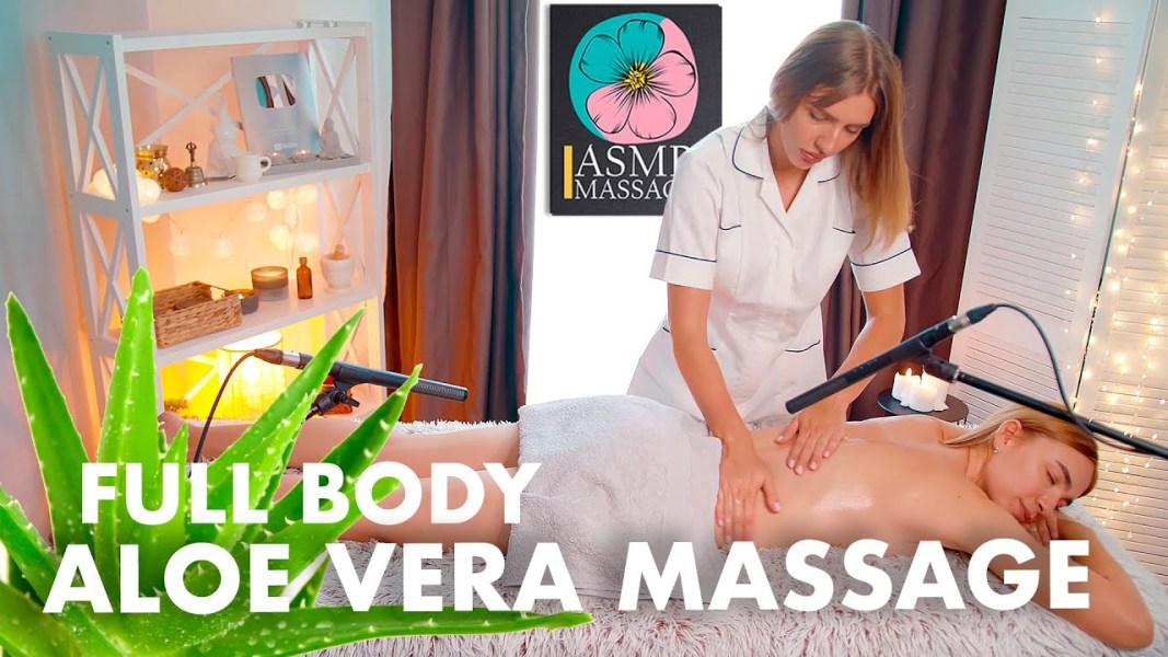 ASMR full body massage with aloe vera by Olga     Back, neck, foot, feet massage no talking