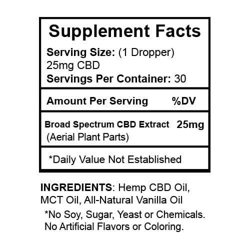 CBDialed 750mg Vanilla Wellness Tincture Supplement Facts