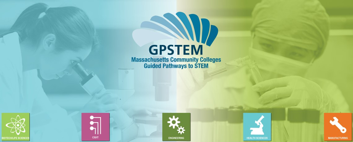 Massachusetts Community Colleges Guided Pathways to Success in STEM Logo