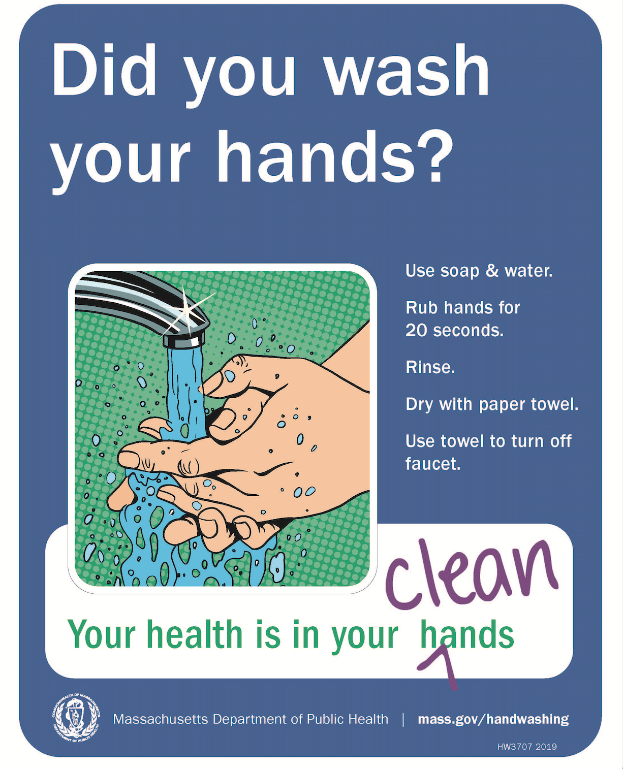 Did You Wash Your Hands Poster Massachusetts Health