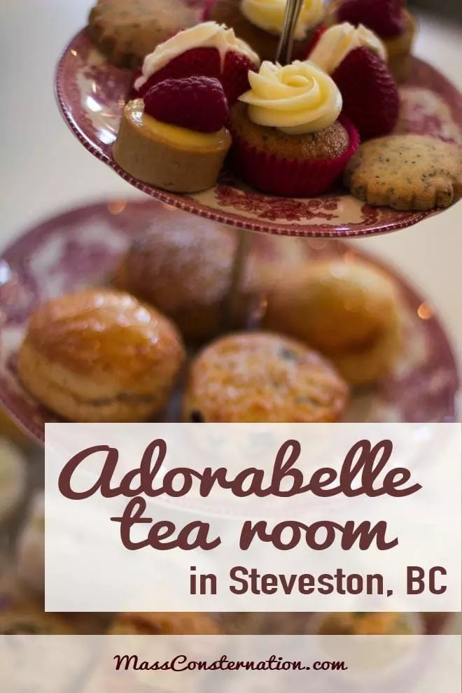 Adorabelle Tea Room in Steveston, BC gives a delectable three-tiers of afternoon tea treats. We had so much fun eating and sipping.