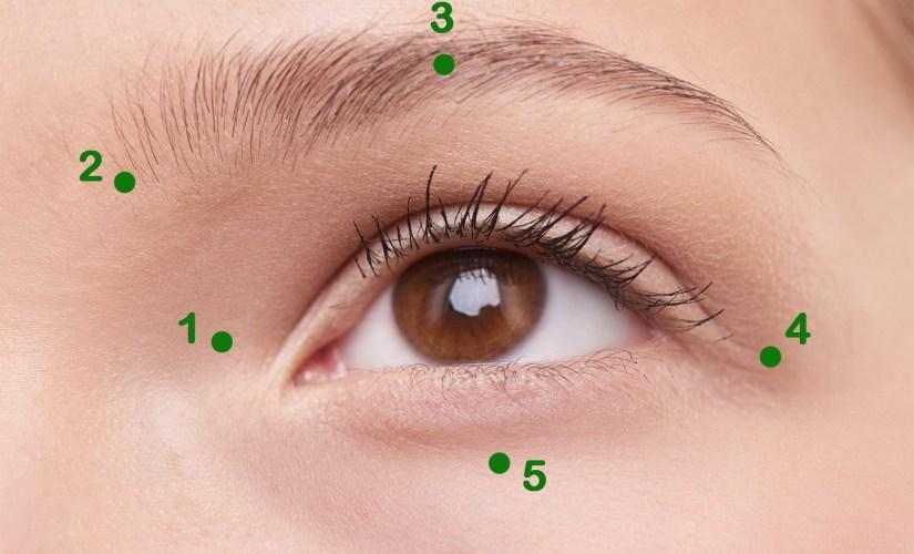 Le massage des yeux chinois dans un masseur oculaire.