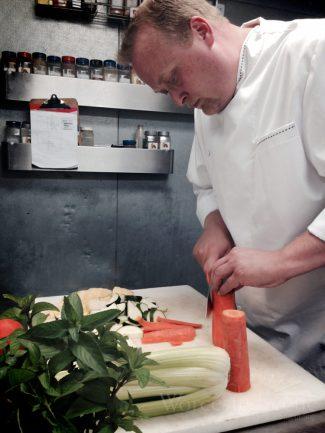 Chef Nemeroff cooking in the Ceres Bistro kitchen