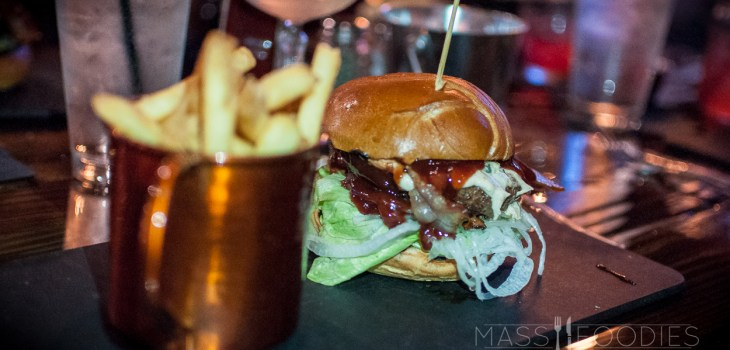 Barely Legal Blackberry Moonshiner Burger from Bootlegger's Prohibition Pub on Chandler Street in Worcester, MA