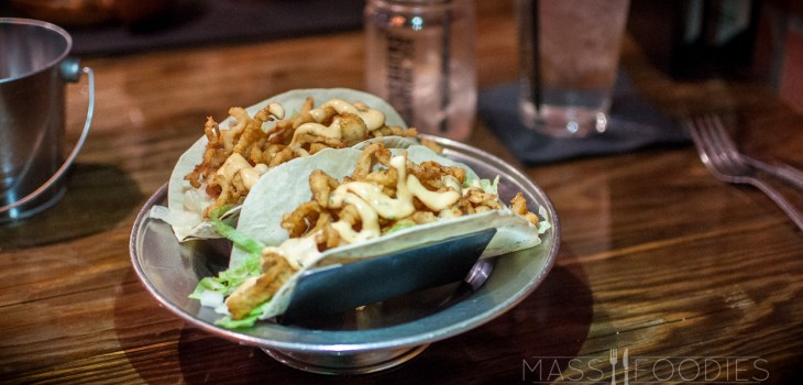Fried Clam street tacos from Bootleggers Prohibition Pub on Chandler Street in Worcester, MA