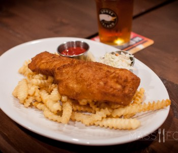 The Beer Battered Fish and Chips from Oak Barrel Tavern on Grove Street in Worcester, MA.