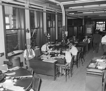 Telegram and Gazette Newsroom (May 19, 1949) from the George Cocaine collection at Worcester Historical Museum, Worcester Massachusetts.