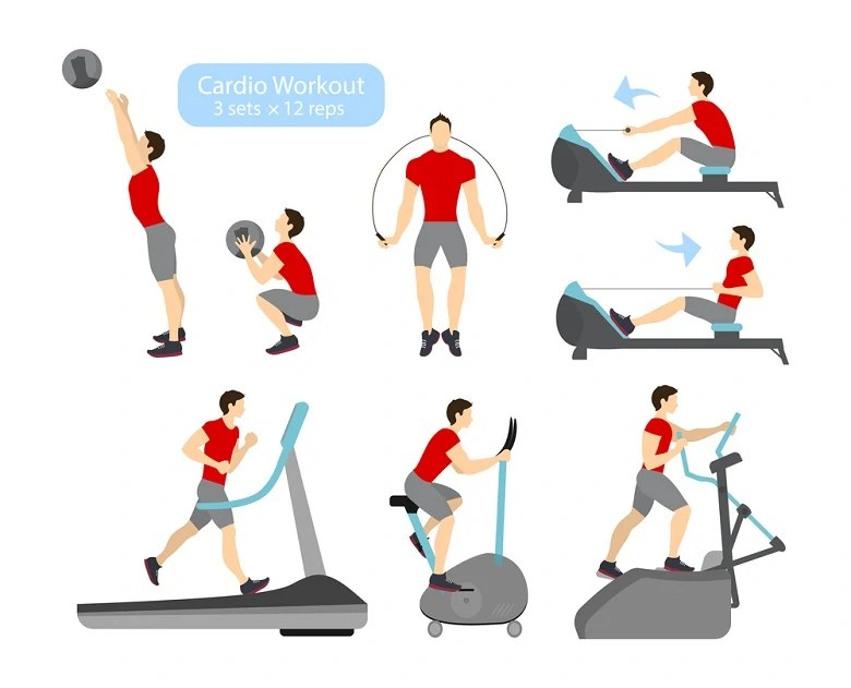 Cardio workout exercises.