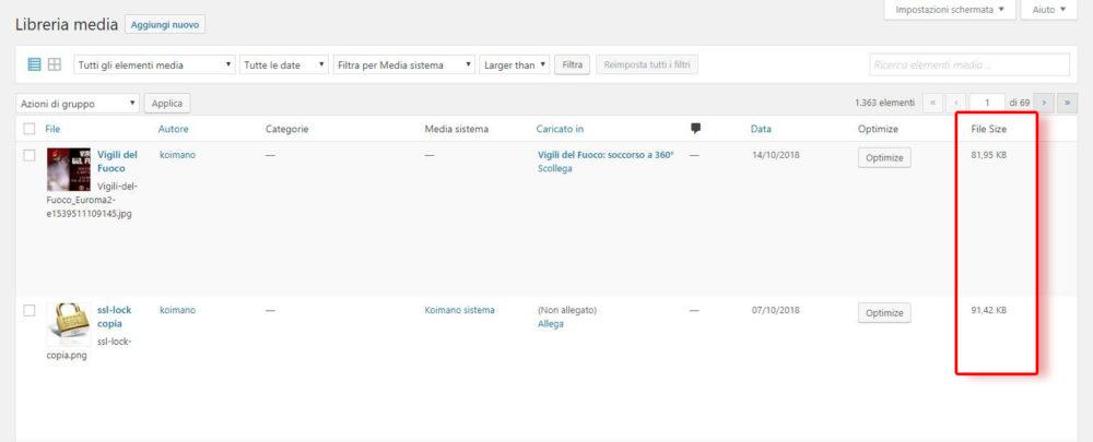 Wordpress visualizzare la dimensione dei file nella libreria media