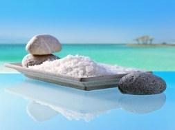 Sea salt on a background of seascape