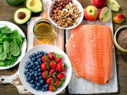 Best Foods for healthy Heart on a wooden background.