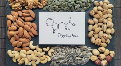 Structural chemical formula of tryptophan amino acid molecule wi