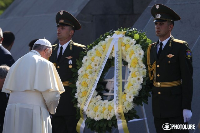 Pope Francis pays a visit to the Armenian Genocide memorial complex during the official visit to Armenia 25 June 2016