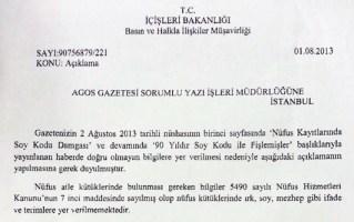 Turkey's Interior Ministry's statement sent to Agos newsppaer