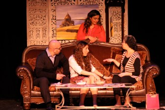 Koko (played by Aris Hamparsumian), Siroun (played by Katherine Sabbagh) and Medz Mayrig (played by Lori Cinar) play matchmaker to Lara (played by Zarig Baghdadlian)