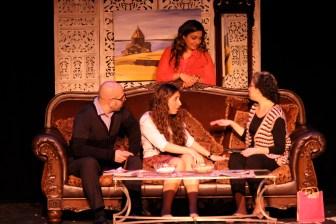 Koko (played by Aris Hamparsumian), Siroun (played by Katherine Sabbagh) and Medz Mayrig (played by Lori Cinar) play matchmaker to Lara (played by Zarig Baghdadlian)