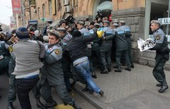 A protest action against Putin took place on Yerevan